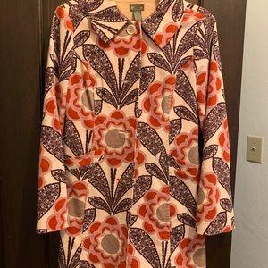 Anthropologie Floral Mid-Length Jacket